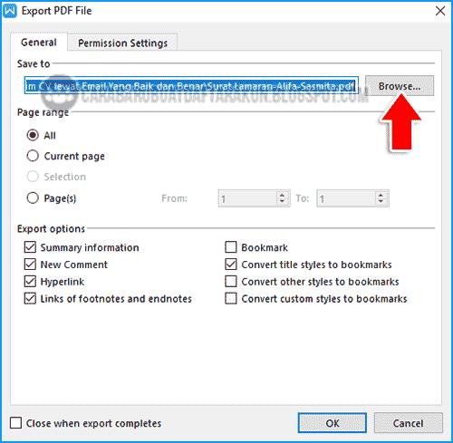 cara mengubah surat lamaran ke pdf