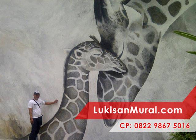 Lukisan dinding kamar 3 dimensi hitam putih