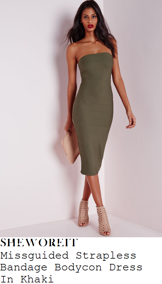 perrie-edwards-missguided-khaki-strapless-bandage-bodycon-dress