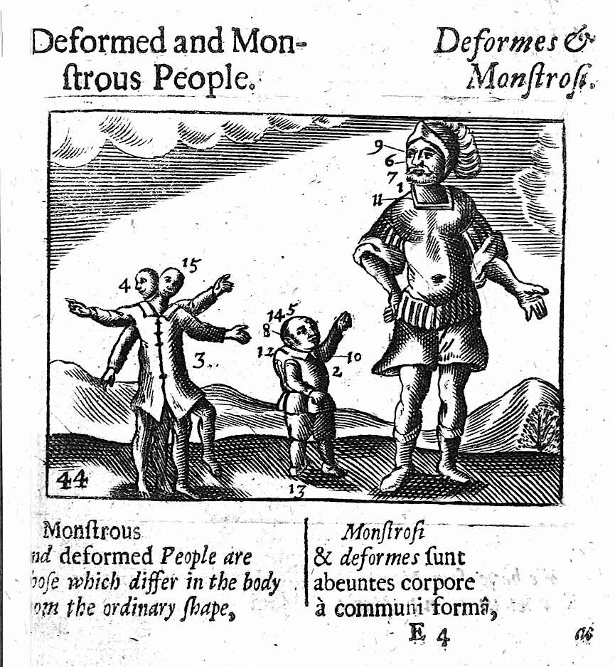 1500s children's school book about deformities and monsterism