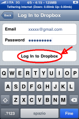 Dropbox mobile log-in