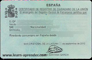 Certificado de Registro de Ciudadano de la Unión: nociones básicas.