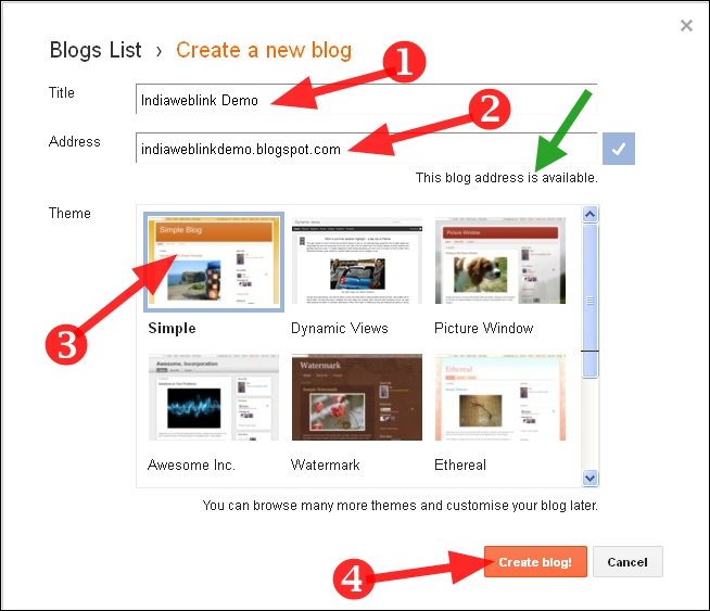 blog ke liye title aur theme select kare