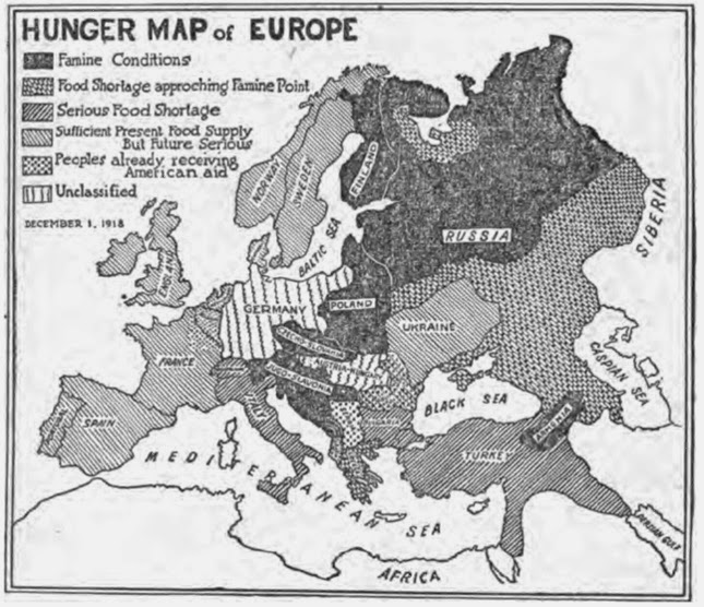 Map of Hunger and Food Shortage in Europe