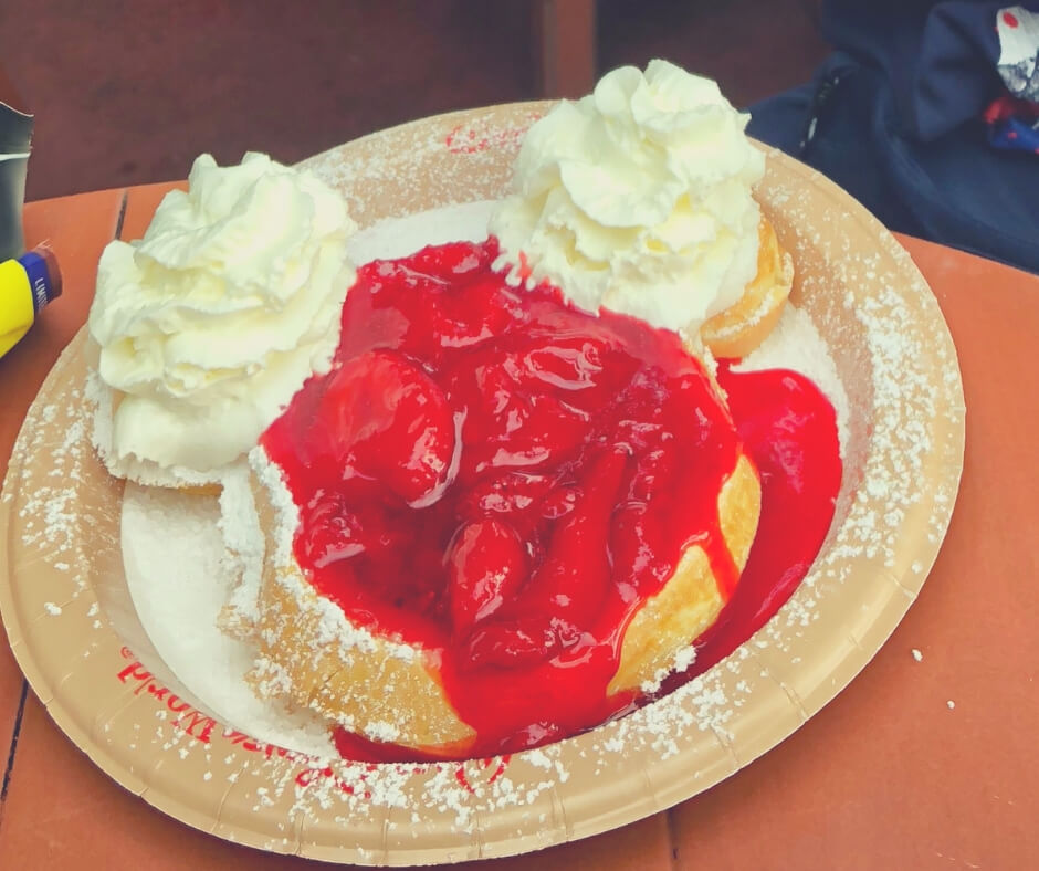 Mickey Waffle with strawberries and cream available from Sleepy Hollow in Magic Kingdom, Walt Disney World.