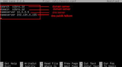 Kemudian tambahkan dns server pada /etc/resolv.conf