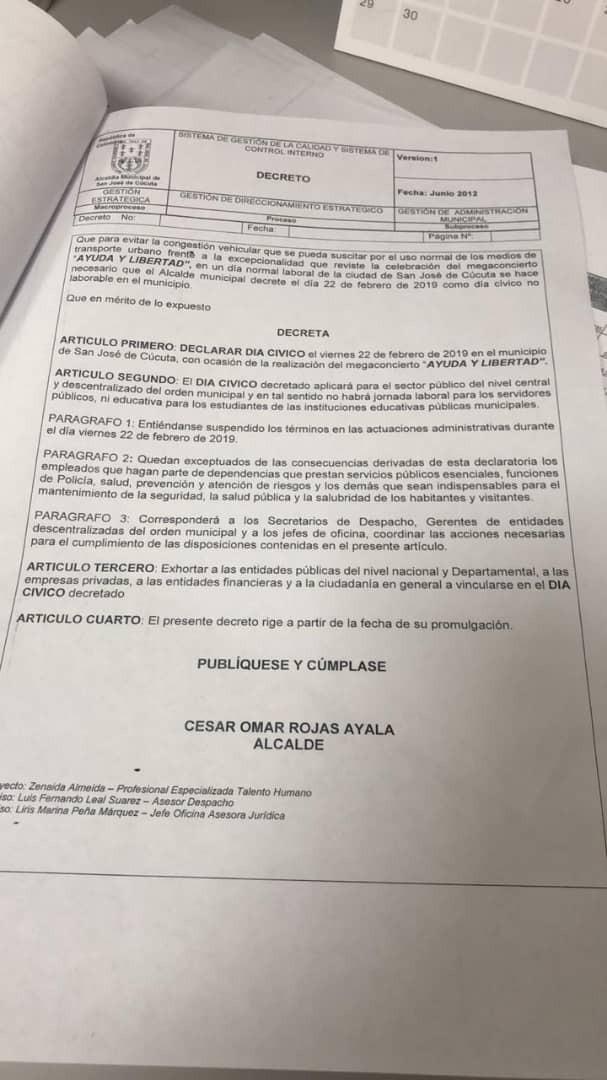 Alcalde de Cúcuta decreta día no laborable para viernes 22 de febrero por concierto de ayuda humanitaria.