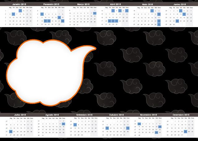 Calendario 2015 para imprimir gratis de Naranja y Negro con Nubes.
