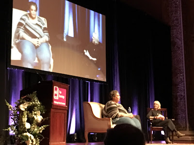 Roxane Gay answers questions at a lecture