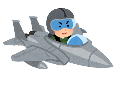 戦闘機に乗る人のイラスト(男性)