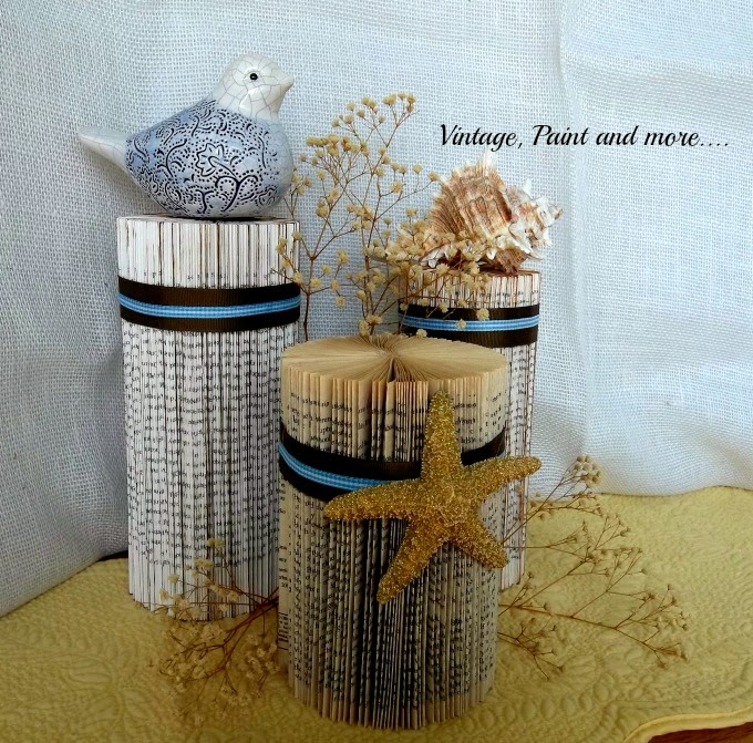 Tweak It Tuesday - beach decor from old books, old books made into home decor, folded books, book page art