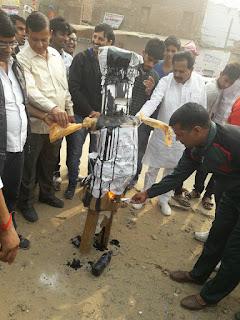नीमकाथाना में फिल्म पद्मावती के विरोध में भंसाली का जलाया पुतला