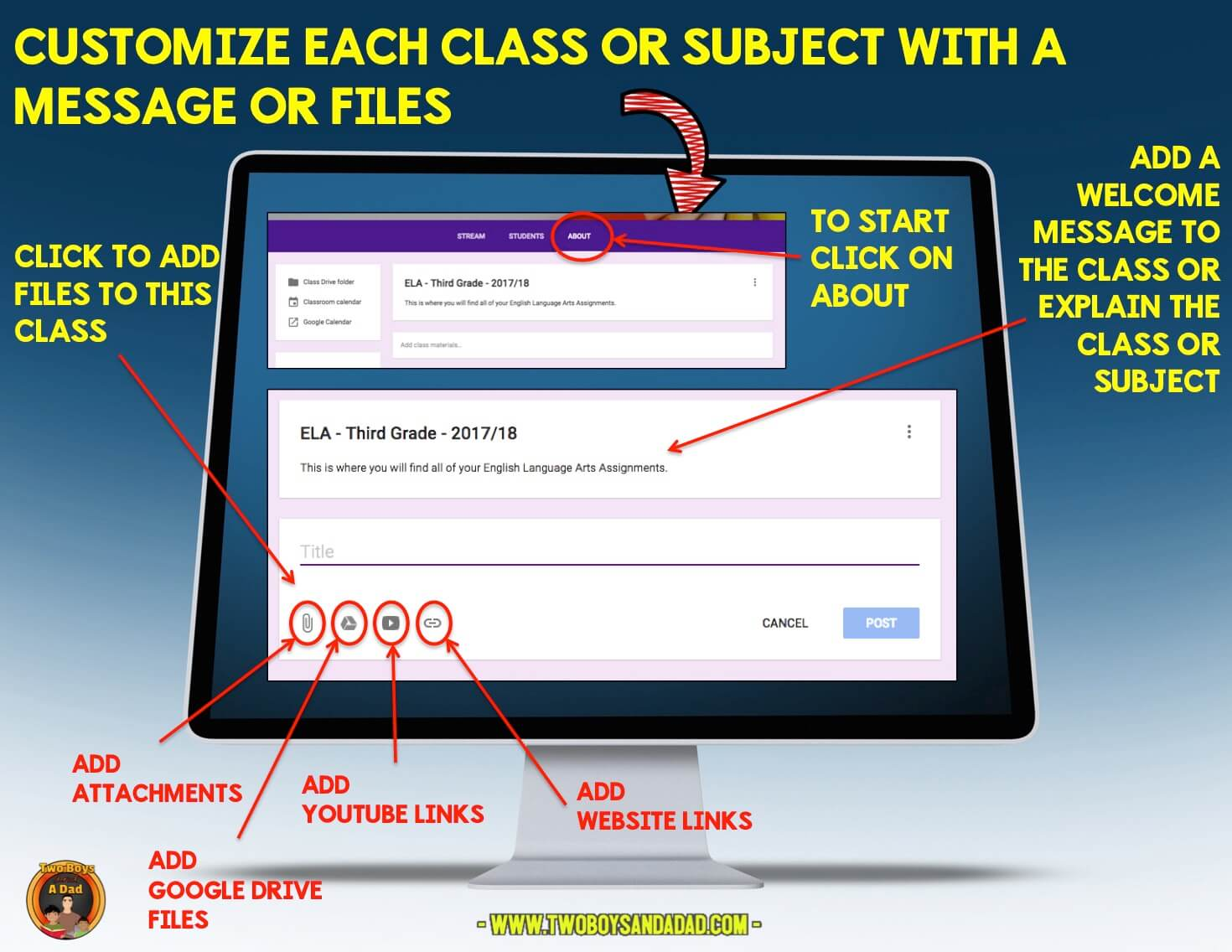 Customize the set up of your Google Classroom