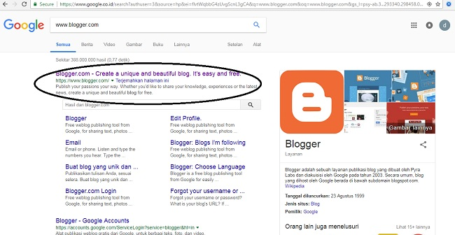 Cara Membuat Blog Gratis di Blogger  (Blogspot).lemaripojok