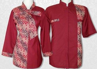 Baju Batik Kombinasi Polos Modern