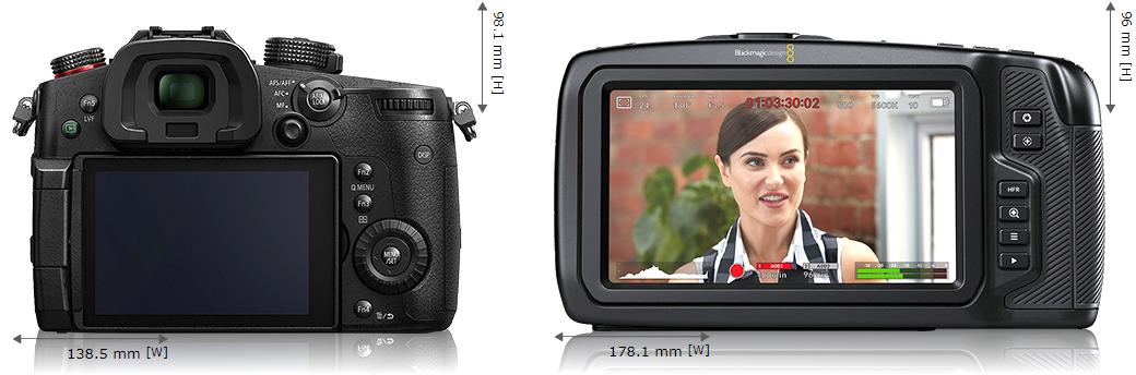 Сравнение размеров Panasonic GH5s и Blackmagic Pocket Cinema Camera 4K - вид сзади