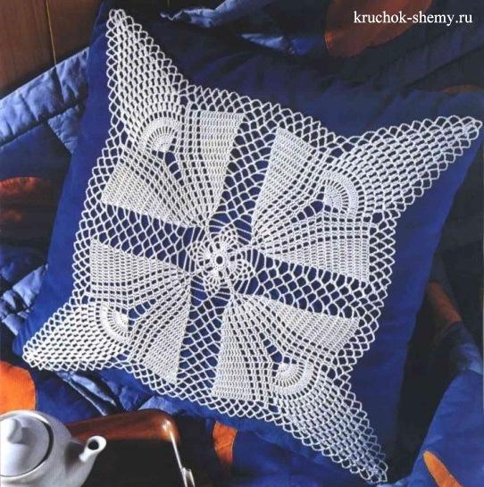 Декор подушки крючком