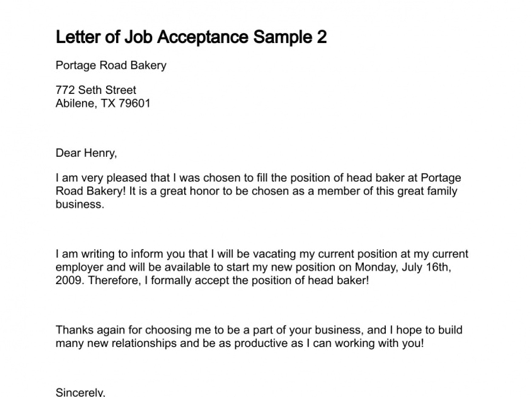Job Acceptance Letter From Employer