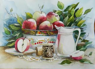 Яблочный спас акварель