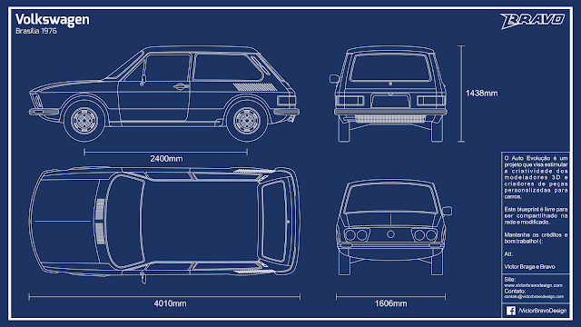 Imagem do blueprint do Volkswagen Brasilia 1976