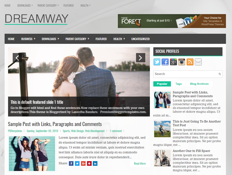 Dreamway is an Attractive Fully Responsive Free Download Dreamway Blogger Template
