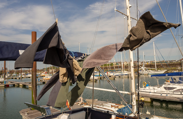 Photo of the soaked clothes drying in the wind