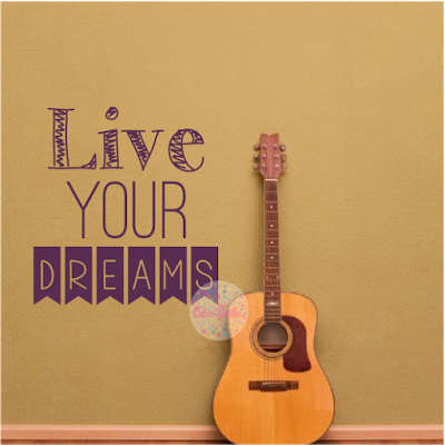 vinilo decorativo pared frase tipografico Live Your Dreams