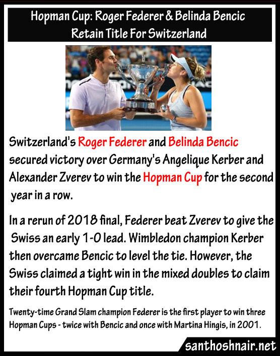 Hopman Cup : Roger Federer & Belinda Bencic retain title for Switzerland