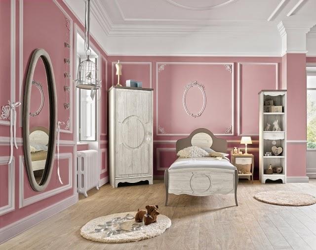 Dormitorio niña gris rosa