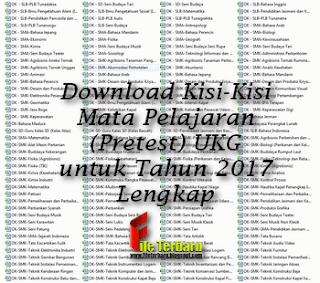 Download Kisi-Kisi Mata Pelajaran (Pretest) UKG untuk Tahun 2017 Lengkap