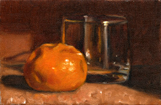 Oil painting of a mandarine beside an old fashioned glass.