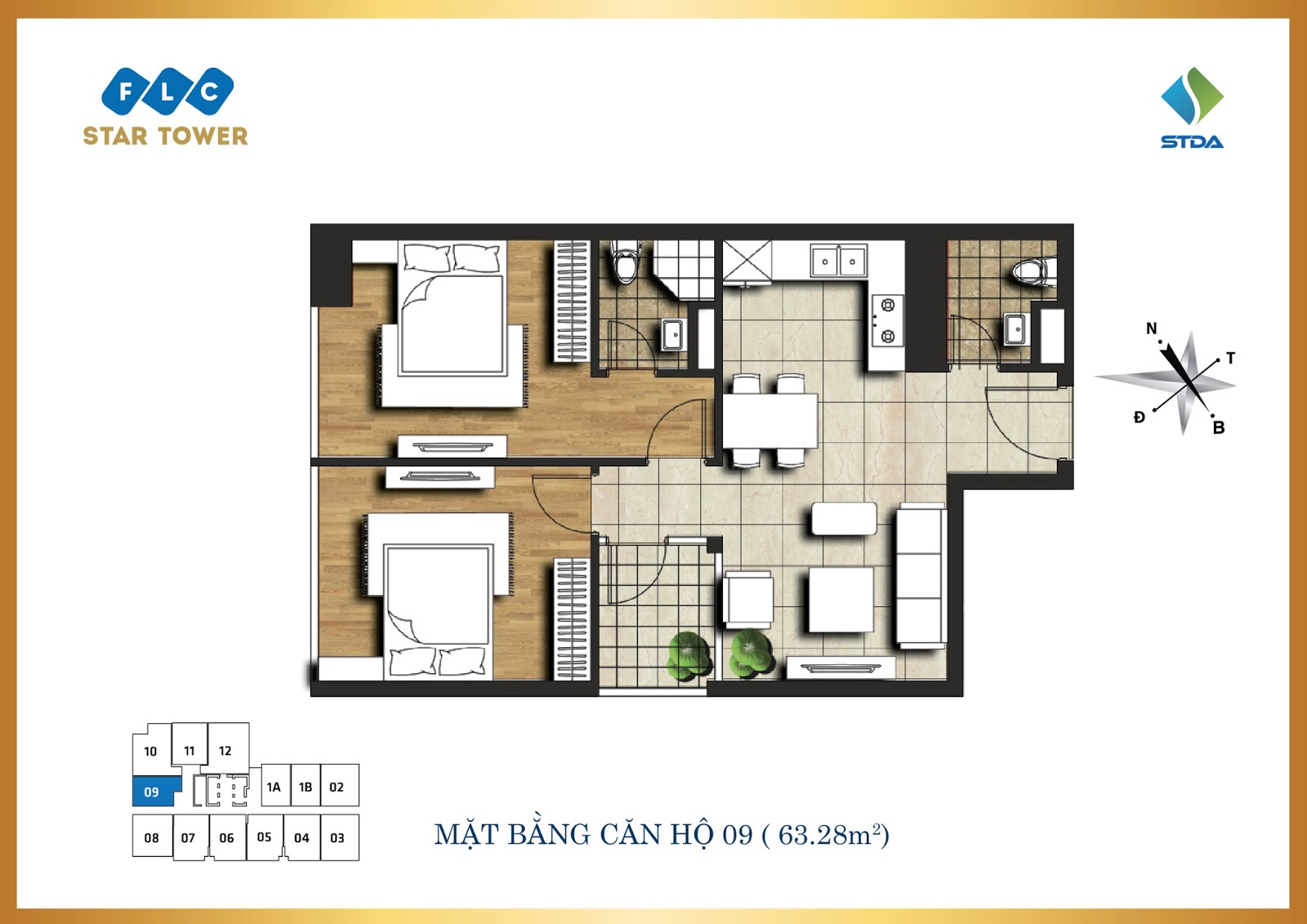 Thiết kế căn hộ số 9 - Chung cư FLC Star Tower