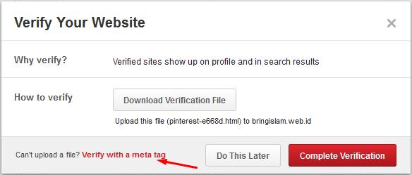 verifikasi dan memasang meta tag pinterest