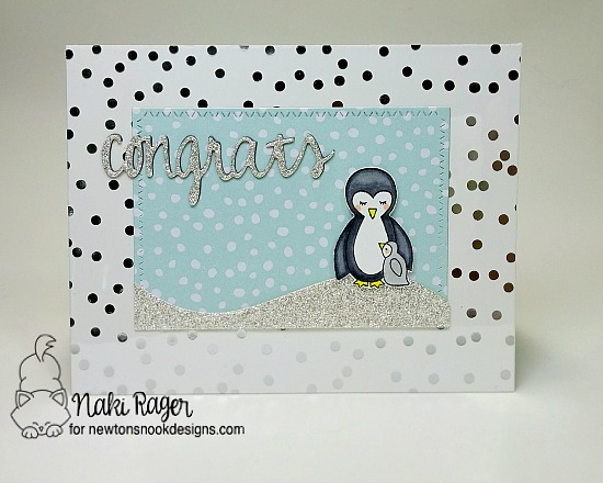 Congrats Penguin Card by Naki Rager | Wild Child Stamp set by Newton's Nook Designs #newtonsnook