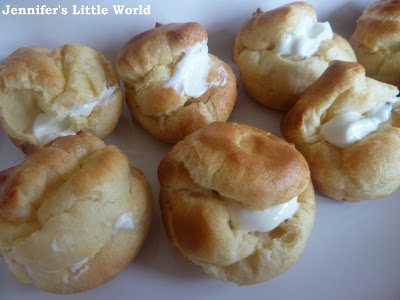 Choux buns, savoury canapes with a cream cheese filling