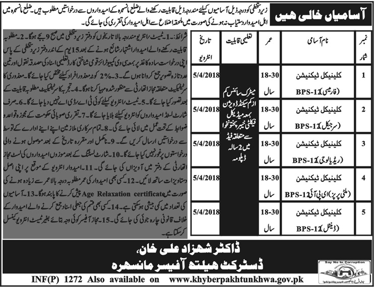 Jobs In District Health Officer kpk March 2018