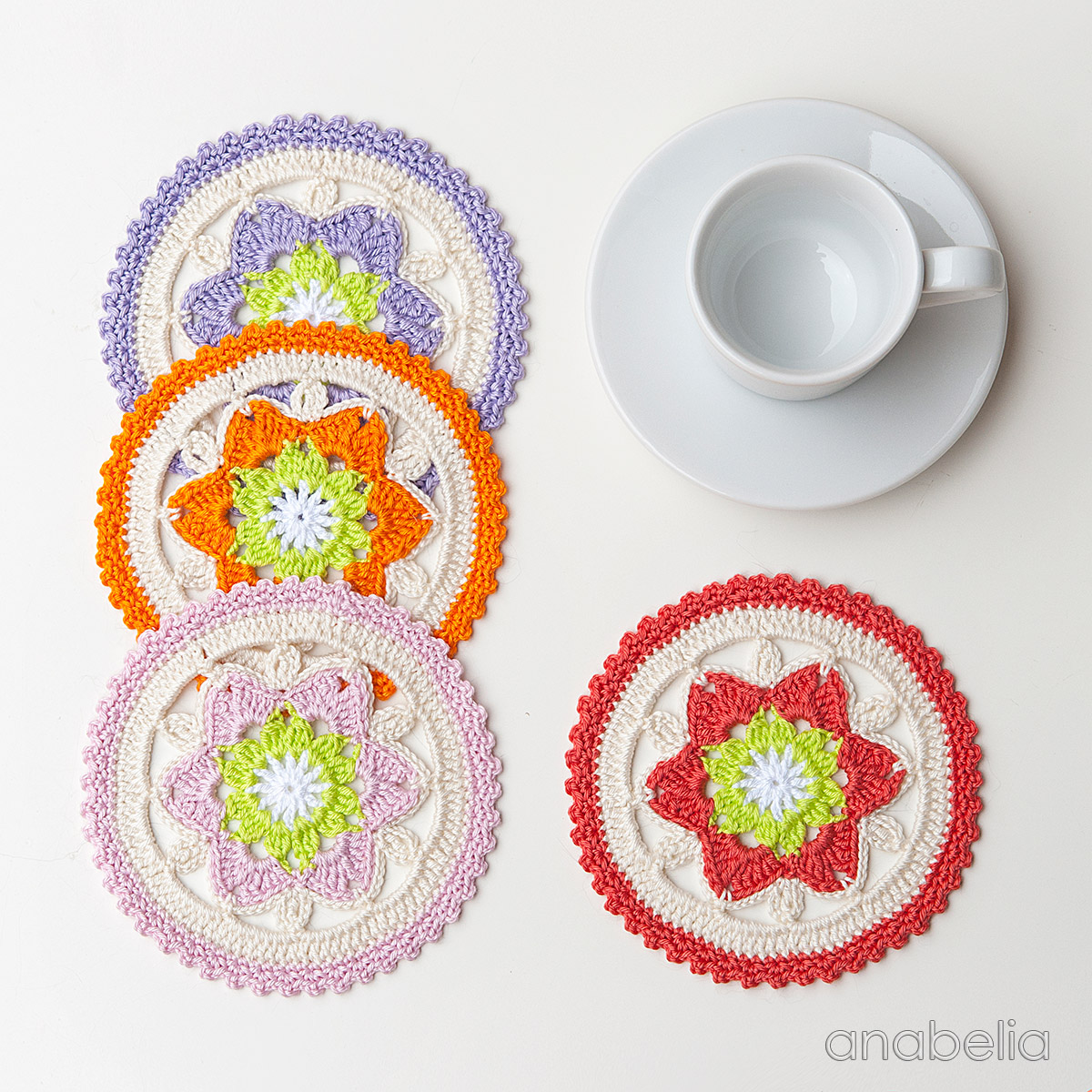 Daffodil crochet coasters pattern, new color schemes | Anabelia ...