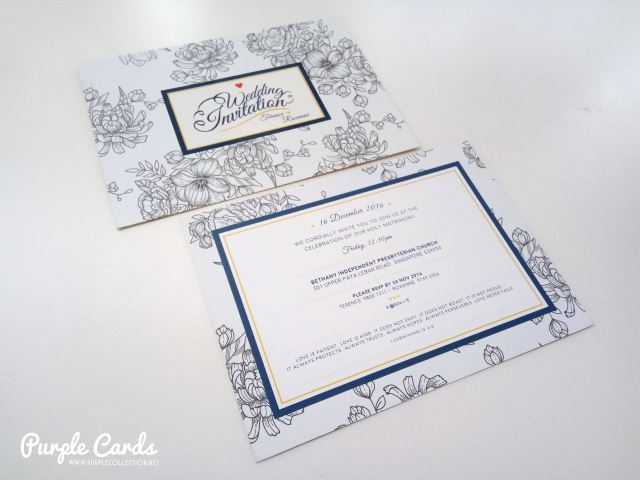 flowery, dark blue, asian wedding card, printing, cetak, kuala lumpur, bethany independent church, floral design, designer, layout, spot uv, finishing, matt lamination, selangor, johor bahru, singapore, malaysia, australia, nsw, perth, brisbane, sydney, melbourne, personalized, personalised, bespoke