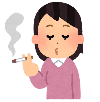 タバコを吸う人のイラスト(女性)