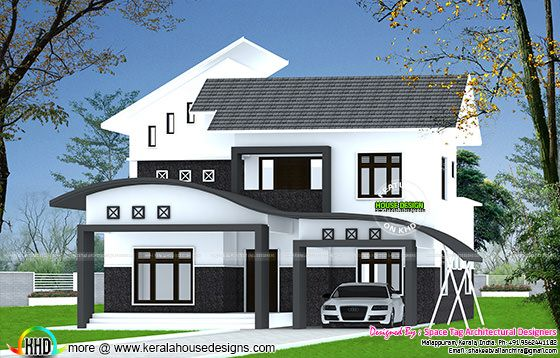 Wavy roof mix home plan