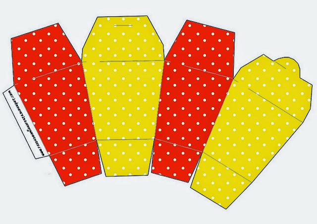 """Caja tipo """"de comida china"""" de Rojo, Amarillo y Lunares Blancos."""
