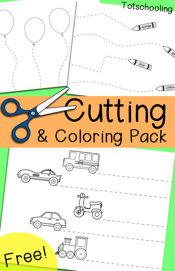 FREE cutting, coloring and tracing pack for preschool and kindergarten to practice scissor skills and fine motor skills. Includes 6 no-prep worksheets for a set of easy and fun activities.