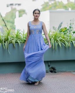 Lavanya Tripathi Beautiful Photos In Blue Long Frock