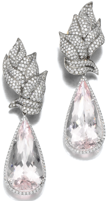 Morganite and diamond earrings by Margherita Burgener.