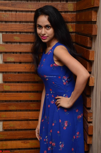 Pallavi Dora Actress in Sleeveless Blue Short dress at Prema Entha Madhuram Priyuraalu Antha Katinam teaser launch 007.jpg
