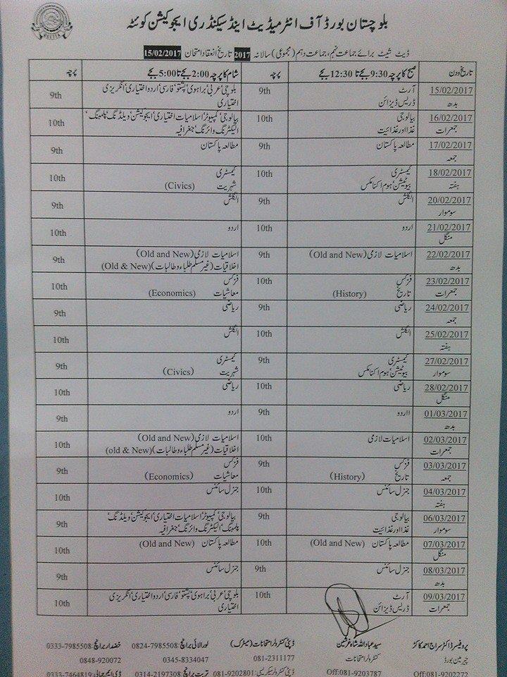 Date Sheet 2019 Quetta Balochistan Board SSC 9th 10th Class
