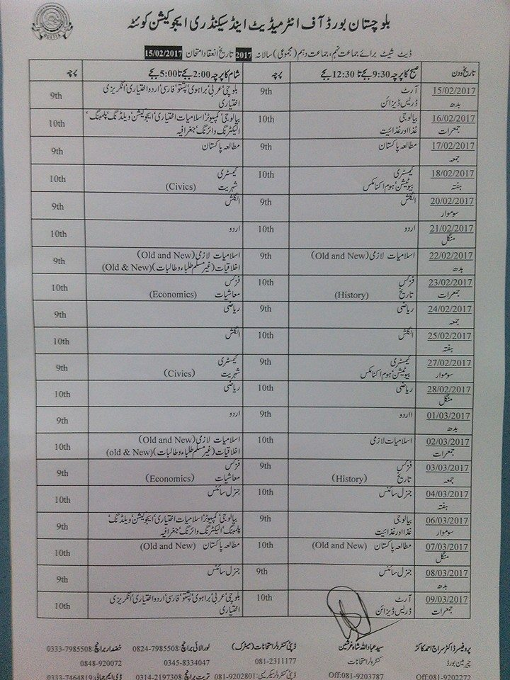 Date Sheet 2019 Quetta Balochistan Board SSC 9th 10th Class