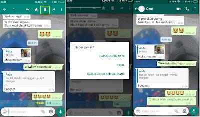 Cara Menarik Pesan Whatsapp sebelum dan sesudah 7 Menit