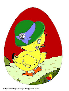 Easter chick- Easter egg painting template