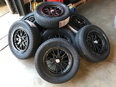 Eight Caterham 13 inch apollo wheels repainted in skoda glitter black
